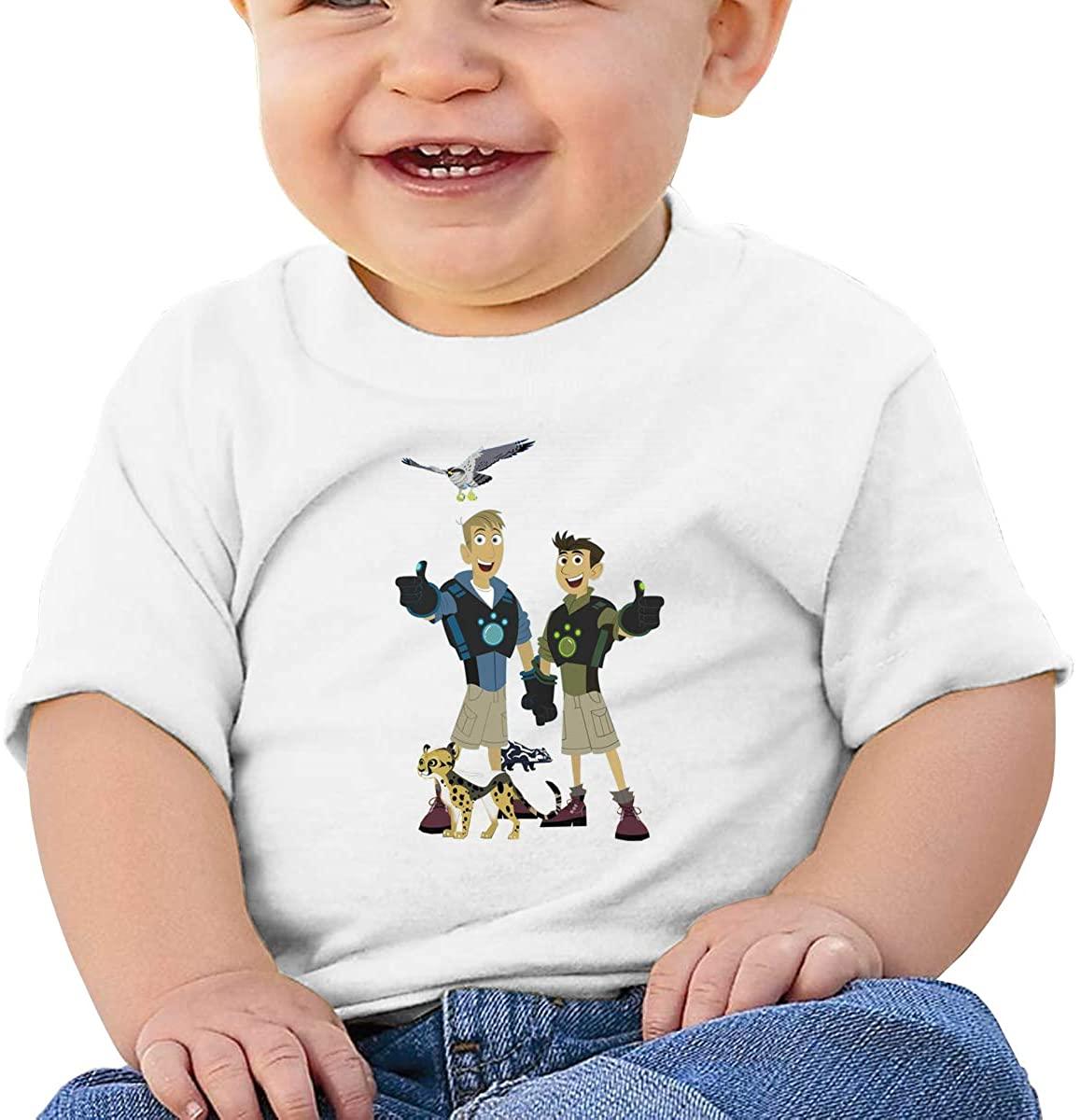 6-24 Months Boy and Girl Baby Short Sleeve T-Shirt Wild Kratts Logo Original Minimalist Style White