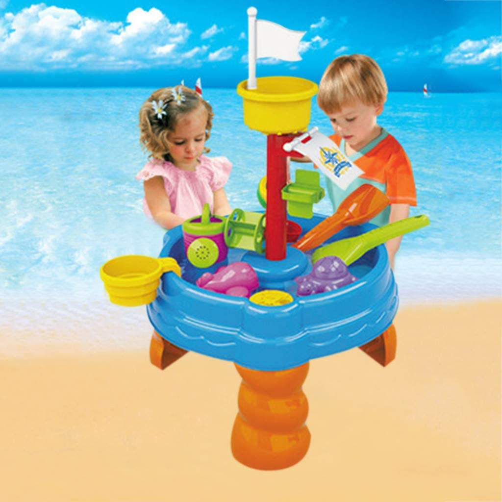 ✈✈✈Beach Toy Set with Activity Table Sand Water Table Watering Can Spade Kids Outdoor Garden Sandpit Toy Set for Toddler Sand Toys Set for Girls and Boys