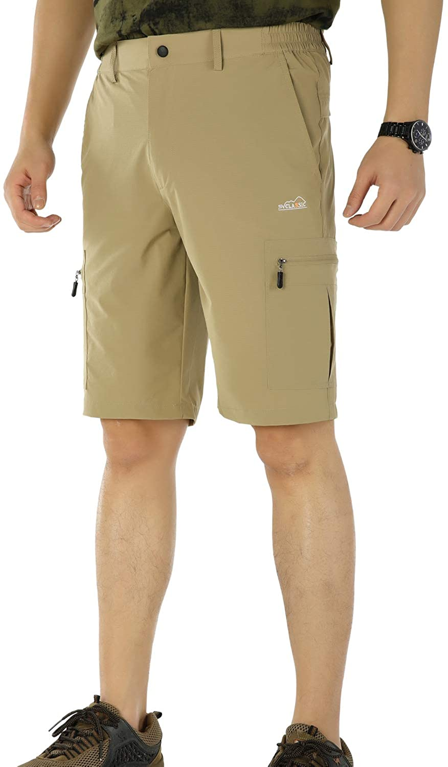 Mr.Stream Men's Gym Athletic Hiking Relaxed Fit Sports Multi-Pocket Cargo Board Shorts