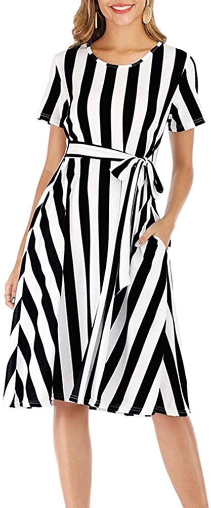 Aublary Womens Summer Short Sleeve Striped Casual Flowy Midi Belt Dress with Pockets