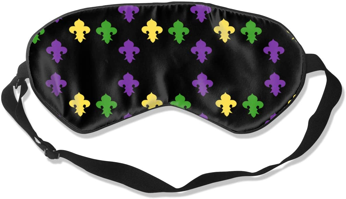 Mardi Gras Fleur De Lis Eye Mask Sleeping Mask 100% Double-Sided Silk Eyeshade Eye Cover