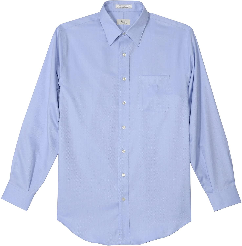 Cooper and Stewart Non-Iron Herringbone Dress Shirt - Blue (34-35 17