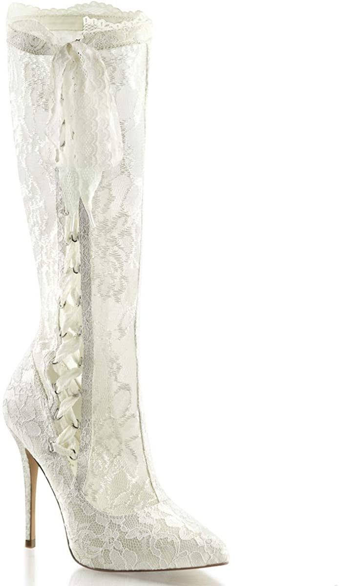 Pleaser White Lace Knee High Stiletto Boot, White Costume Boots