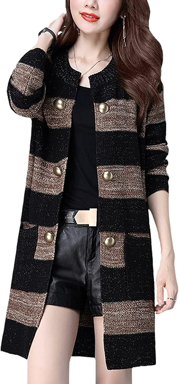 CLJJ7 Women's Open Front Mid-Long Knit Cardigan Sweater Jacket