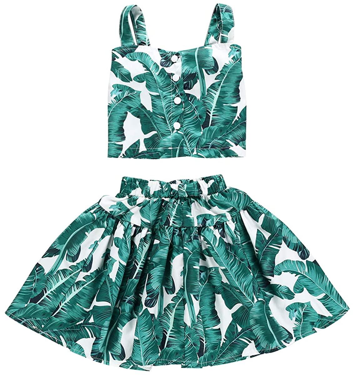 Kids Toddler Baby Girls Summer Dress Outfits Leaf Print Shirt+Ruffled Skirt Dresses Beachwear Sunsuit Clothes Set