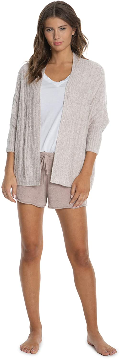 Barefoot Dreams CozyChic Lite Cable Shrug,Women 3/4 Sleeve Cardi, Open Front Oversized Sweaters