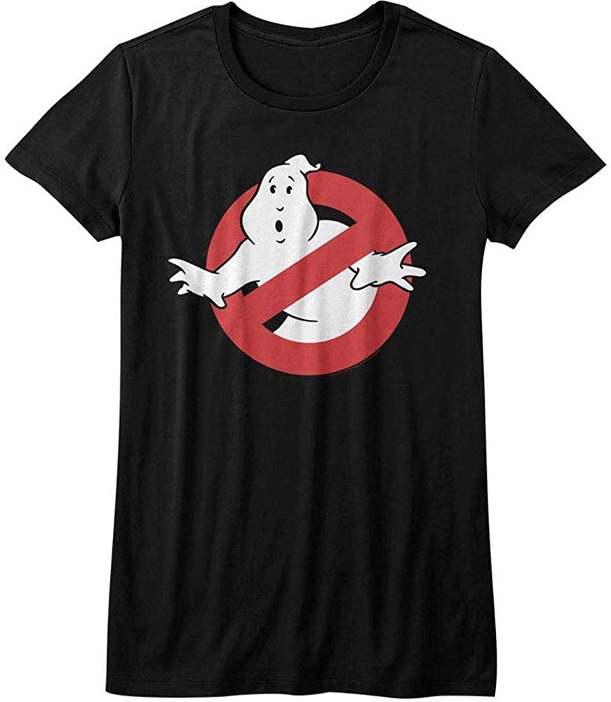 American Classics Real Ghostbusters TV Series Symbol Black Juniors T-Shirt Tee