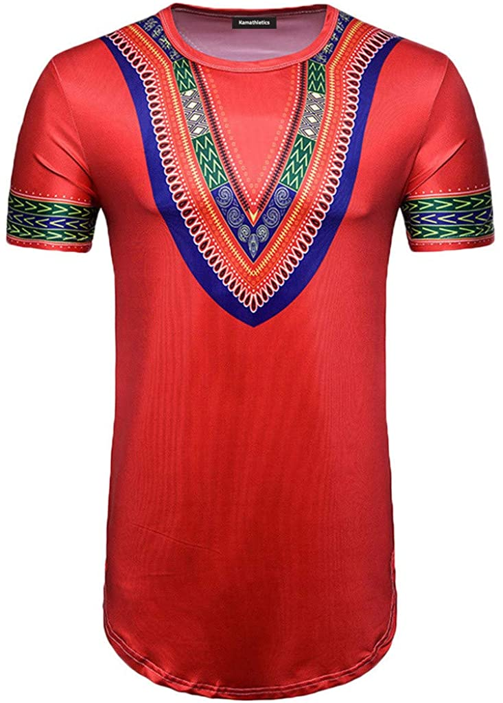 WUAI-Men African Shirt Dashiki Floral Dress Short Sleeve Boho Basic Tee Muscle Tops Blouse