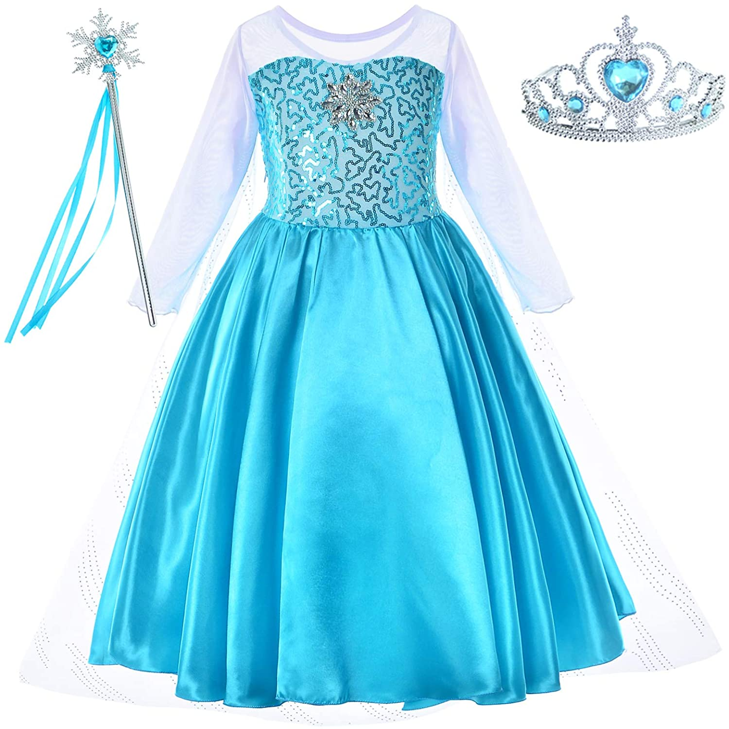 Party Chili Princess Costume for Girls Dress Up with Accessories Toddler Little Girls 2-10 Years