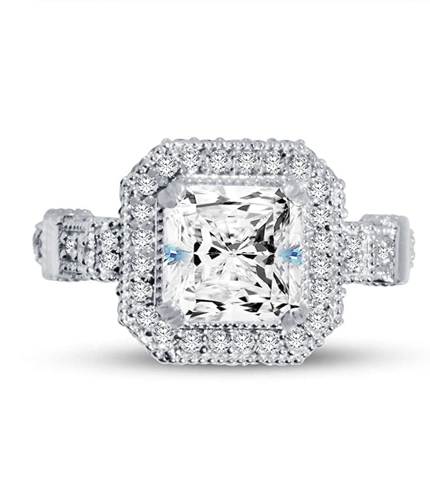 14k White Gold Asscher Milgrain Halo with Accents Large Solitaire Engagement Ring CZ Cubic Zirconia (3.0cttw, 2.0ct. Center)