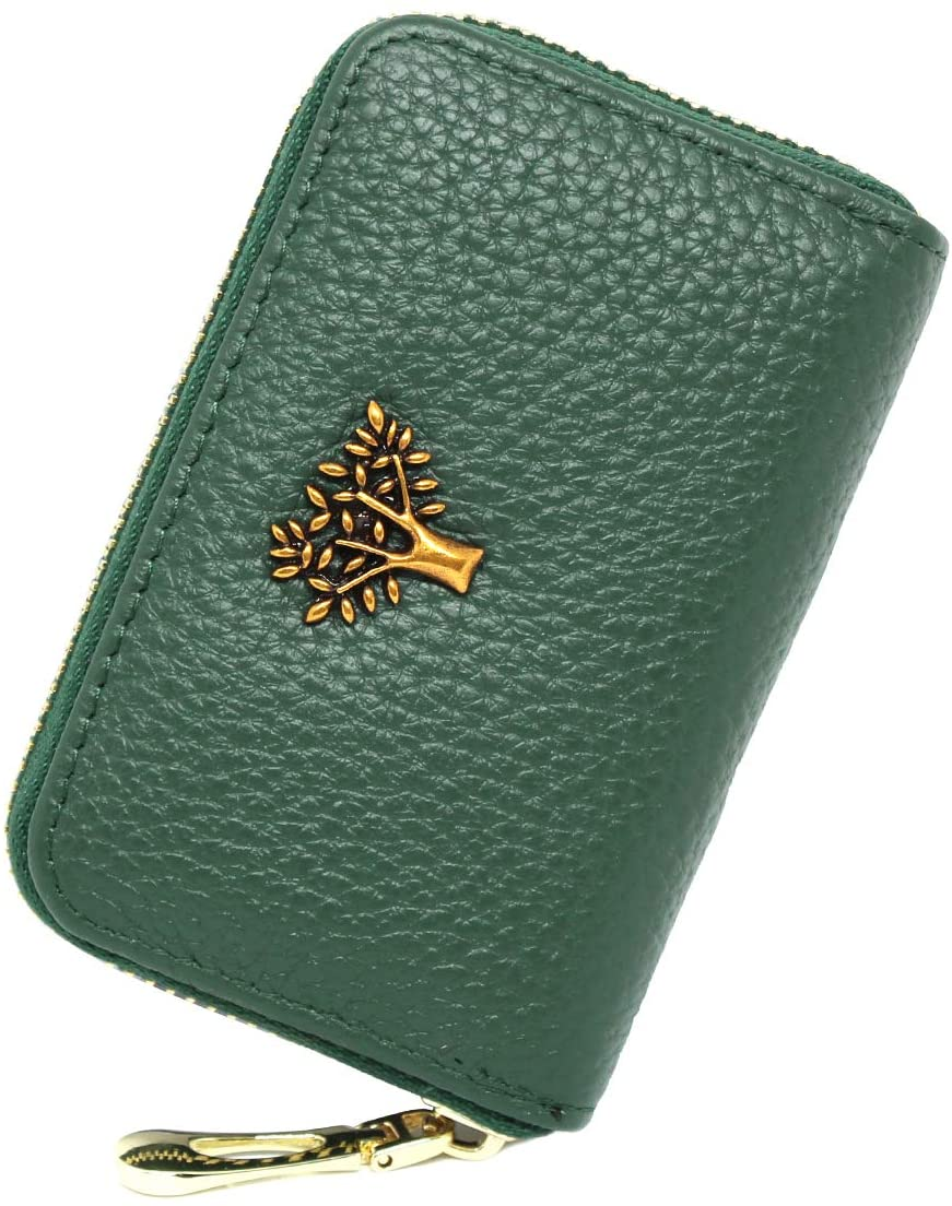 imeetu RFID Blocking Credit Card Holder, Leather Zipper Small Wallet Card Case for Women,S(Green)