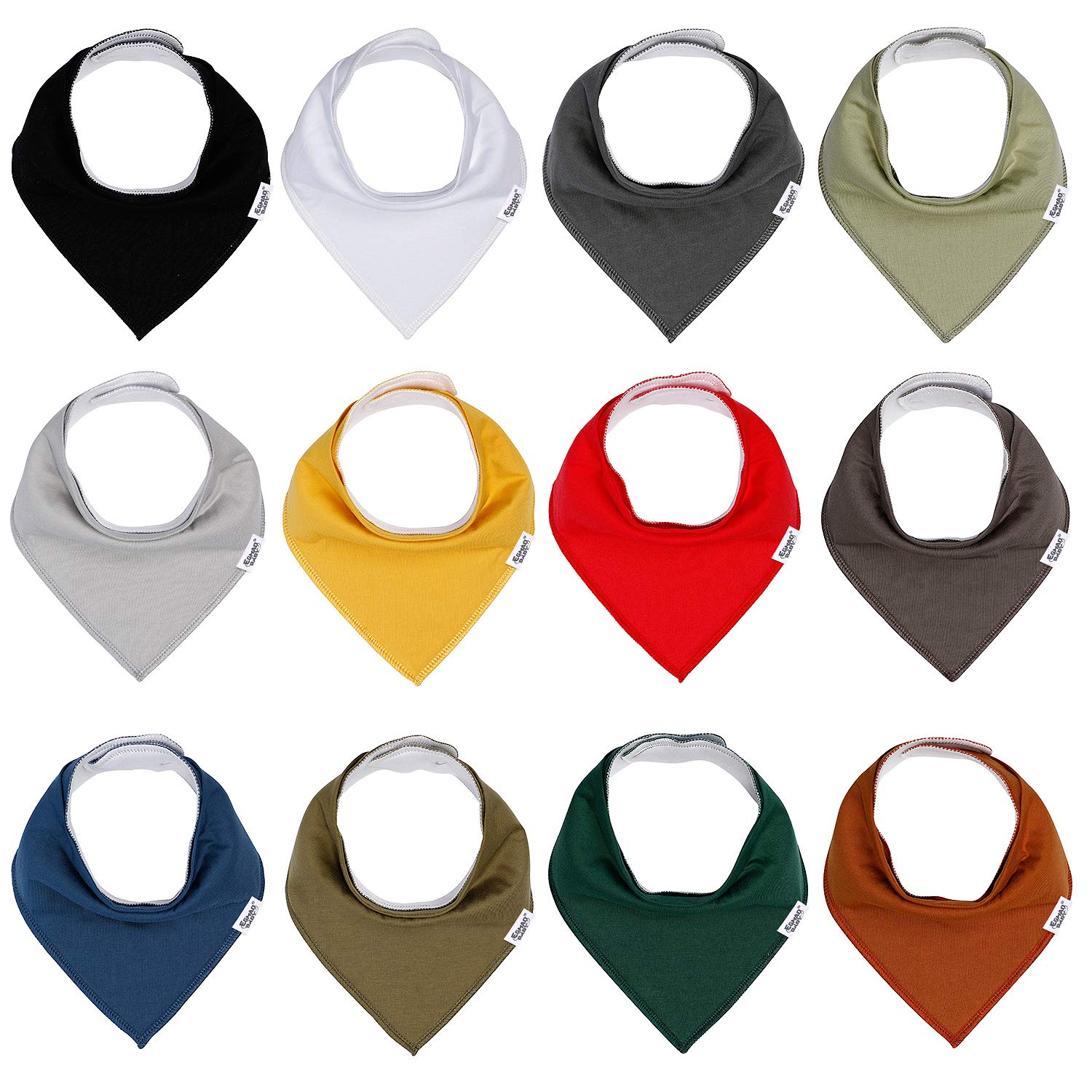 Baby Bandana Drool Bibs for Boys and Girls, Solid Colors, Unisex 12 Pack Baby Shower Gift Set for Teething and Drooling, Organic Cotton Bibs,Soft Absorbent and Hypoallergenic