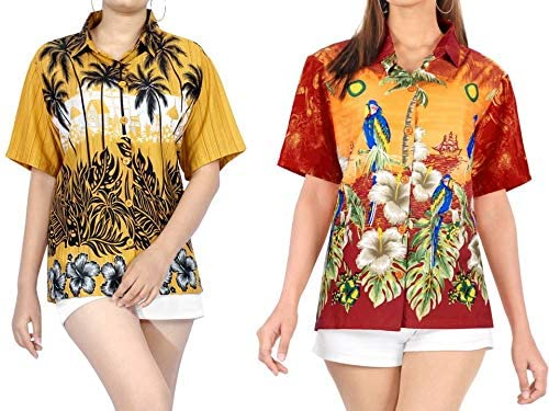 LA LEELA Women's Plus Size Hawaii Aloha Dress Shirt for Casual Wear Work from Home Clothes Women Beach Shirt Blouse Shirt Combo Pack of 2 Size Medium