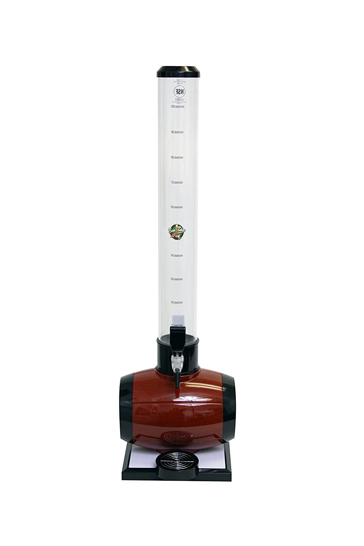 Beer Tubes Keg Barrel Beverage Tower Dispenser with Regular Tap, 100 oz. Tall Tube, Brown, BEB-32-R