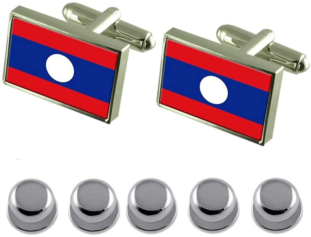 Select Gifts Shirt Dress Studs Laos Flag Cufflinks