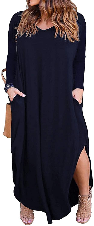 Nemidor Women's Casual Loose Pocket Long Dress Long Sleeve Plus Size Slit Maxi Dress