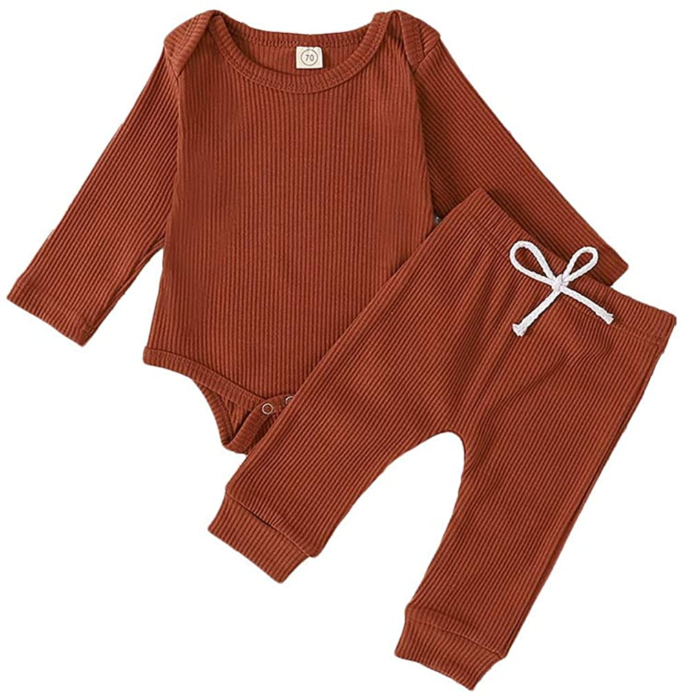 MTSLYH Infant Baby Boy Girl Solid Color Ribbed Outfit Romper Tops+Bow Pants Pajamas Set