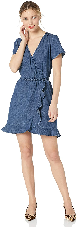 J.Crew Mercantile Womens Short-Sleeve Chambray Ruffle Wrap Dress