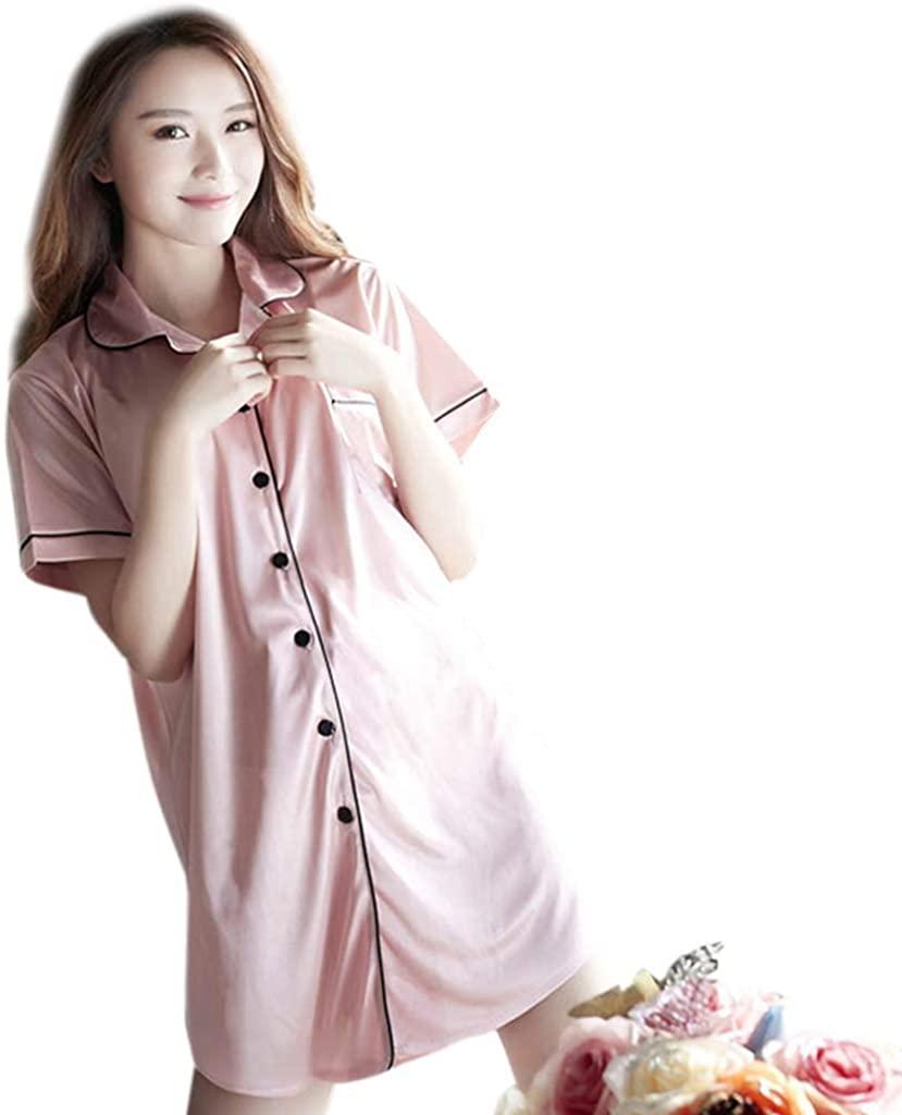 Rhfemd 9 Styles Women Imitation Silk Summer Pajamas Lapel Collar Button Down Nightdress Short Sleeves V-Neck Loose Sleepwear Loungewear