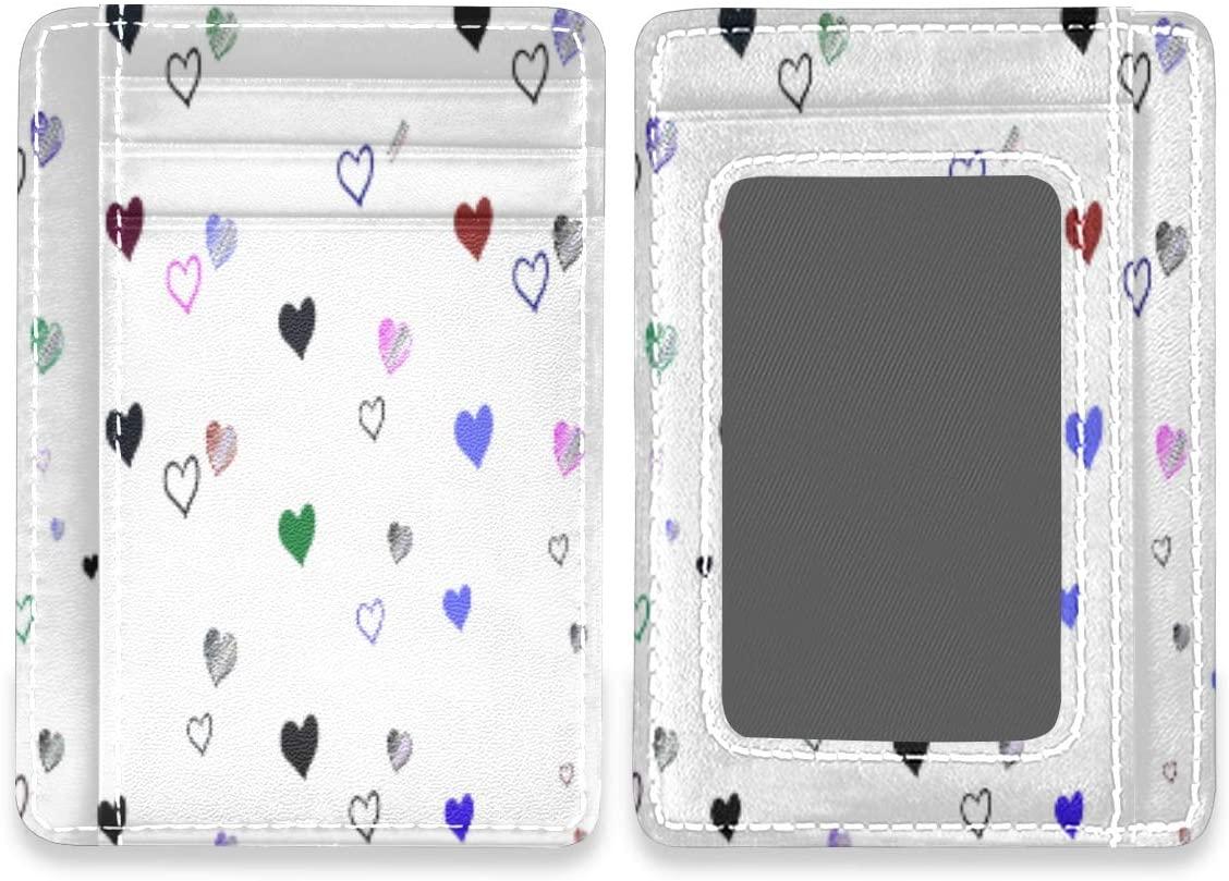 Beautiful Sweet Love Hearts Slim Minimalist RFID Leather Wallets Front Pocket Credit Card Holder Men