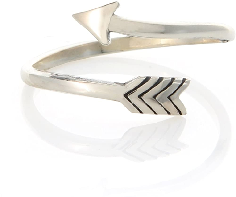 LAONATO Arrow Wrapped Ring 925 Sterling Silver Adjustable Size