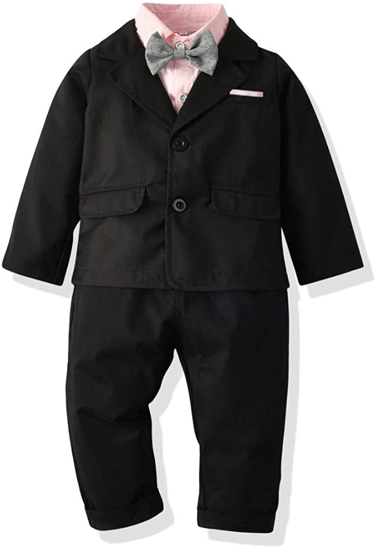 Little Boys Gentleman 4PC Formal Suit Set with Black Coat, Suspender Pants, Tie and Long Sleeve Pink Shirt
