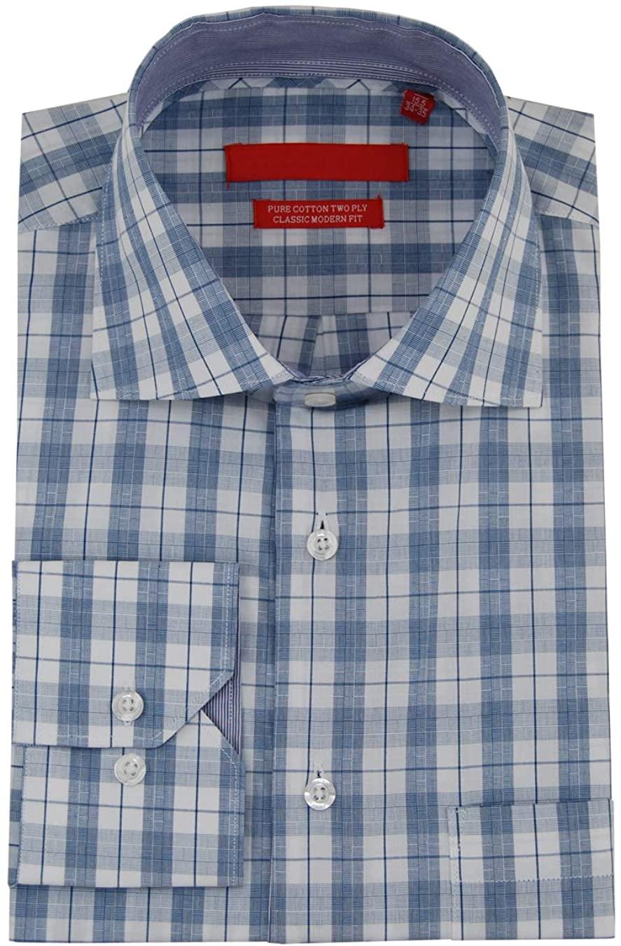 DTI GV Executive Mens Check Dress Shirt Cotton Spread Collar Barrel Cuff