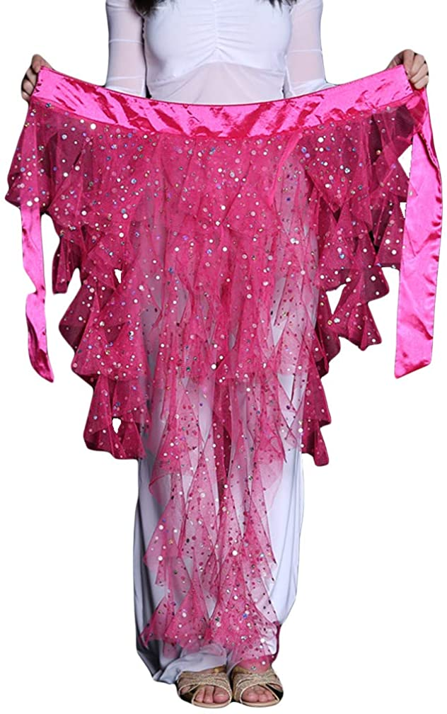 2020 Professional Sparkly Foxtail Sequins Belly Dance Hip Scarf Net Skirt Pole Dance Party Mermaid Costumes Halloween Gift