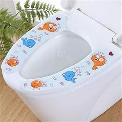 u-type toilet cushion paste cartoon creative cute four seasons block ingests four seasons of household waterproof ring ins big child 3 pairs of blue fish with medium cartoon 3Pcs