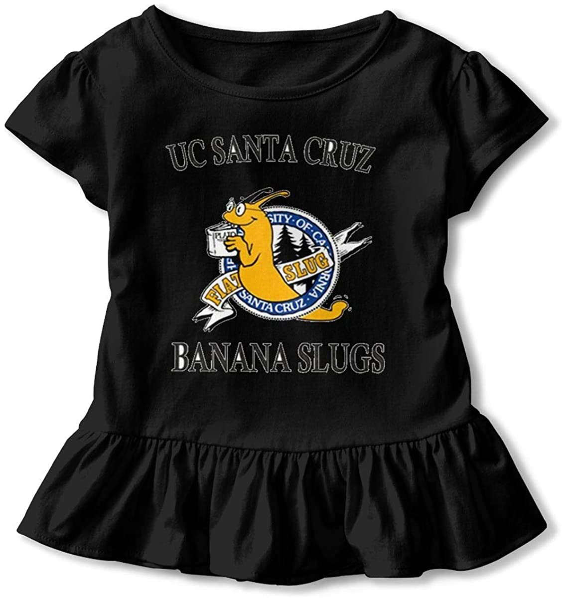 AP.Room Uc Santa Cruz Banana Slug Baby Girls Basic Shirts Toddler Short Sleeve T-Shirts Essential Ruffle T-Shirt
