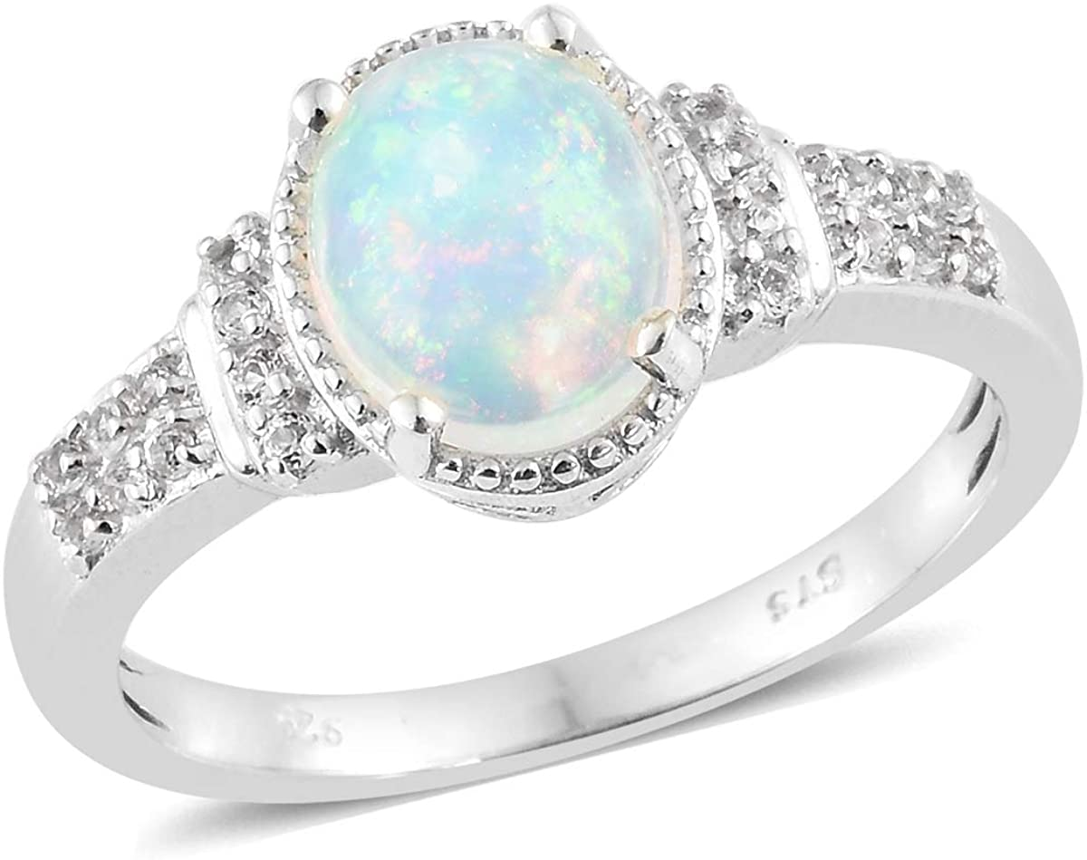 Oval Fire Opal White Topaz Platinum Plated Solitaire Promise Statement Engagement Anniversary Ring 925 Sterling Silver Jewelry for Women Mothers Day Gifts Size 11