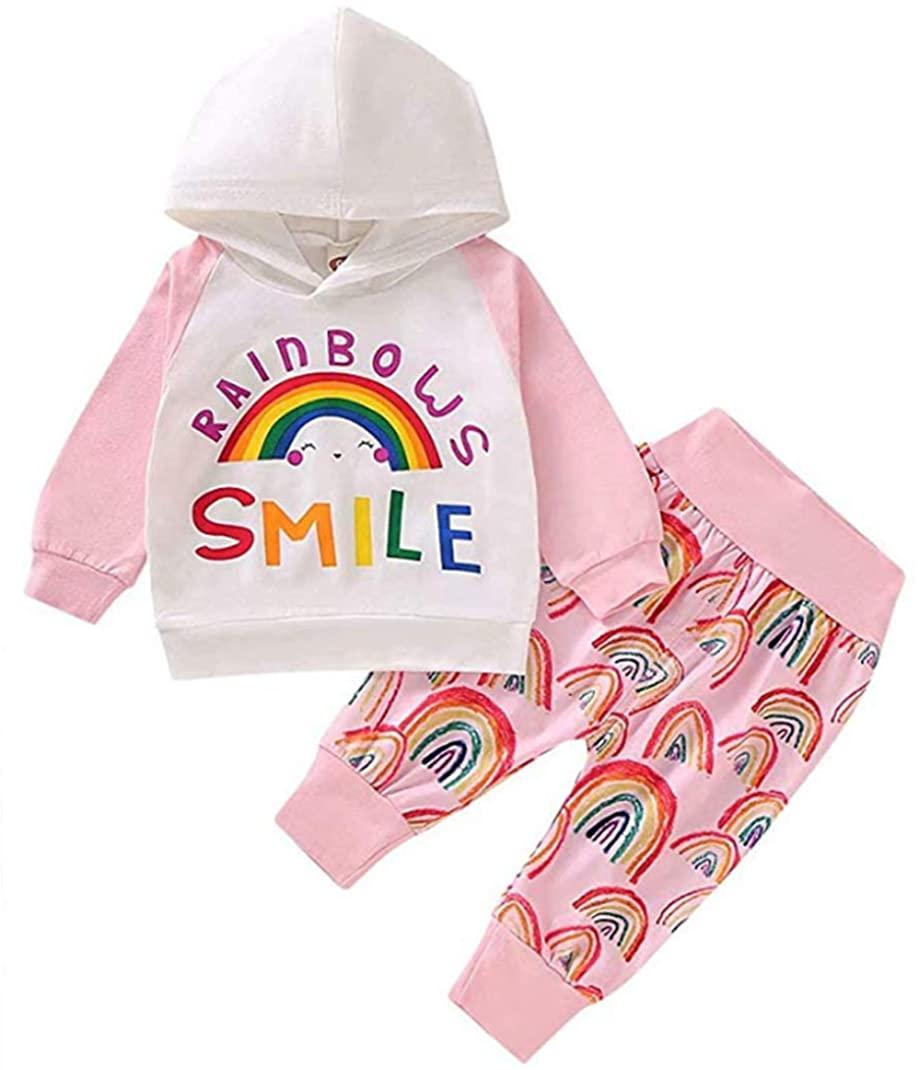 Newborn Baby Girls Rainbow Outfits Long Sleeve Smile Letter Print Hoodie Tops Leggings Pants 2Pcs Sets