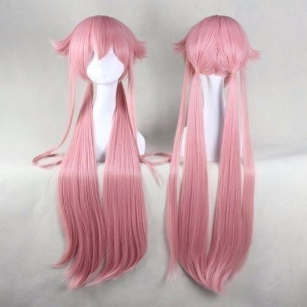 Mainlead Long Straight Pink Cosplay Hallowen Party Wig Girl Women Synthetic Hair