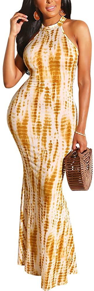 ECHOINE Women's Tie Dye Sleeveless Racerback Maxi Dress Casual Bodycon Long Dress S XXL