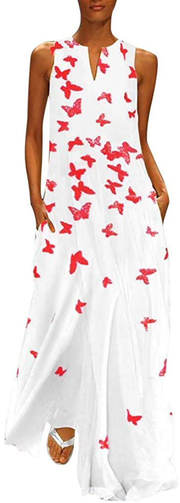 Women Vintage Daily Casual Sleeveless Cotton-Blend Printed Butterfly Dress