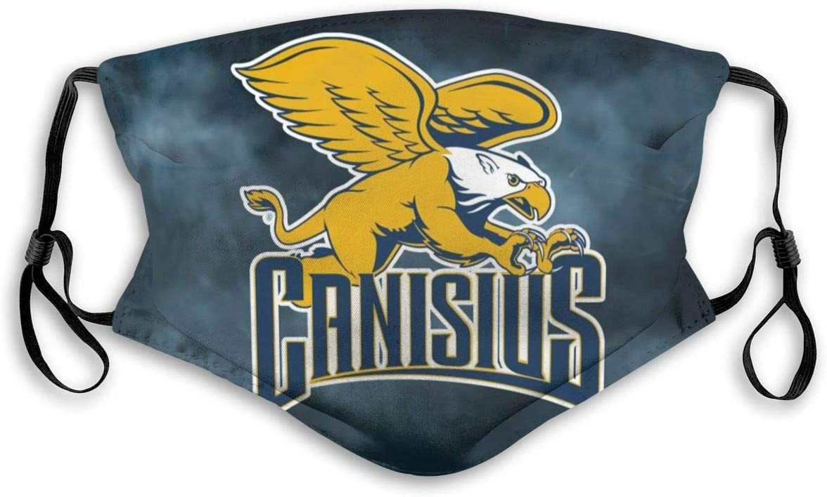 NCAA Canisius College Golden Griffins Face Mask Unisex Face Protective Adjustable Reusable Washable Face Cover Dustproof Windproof Face Shield With Carbon Filter Face Guard (Adults and Kids) Small