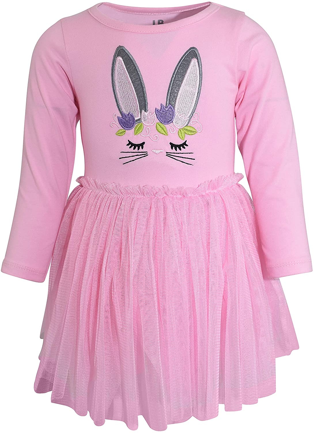 Unique Baby Girls Easter Bunny Embroidery Dress with Tutu