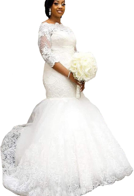 Yuxin Elegant Plus Size Wedding Dress 2020 Long Sleeves Appliqued Lace Mermaid Bridal Gowns
