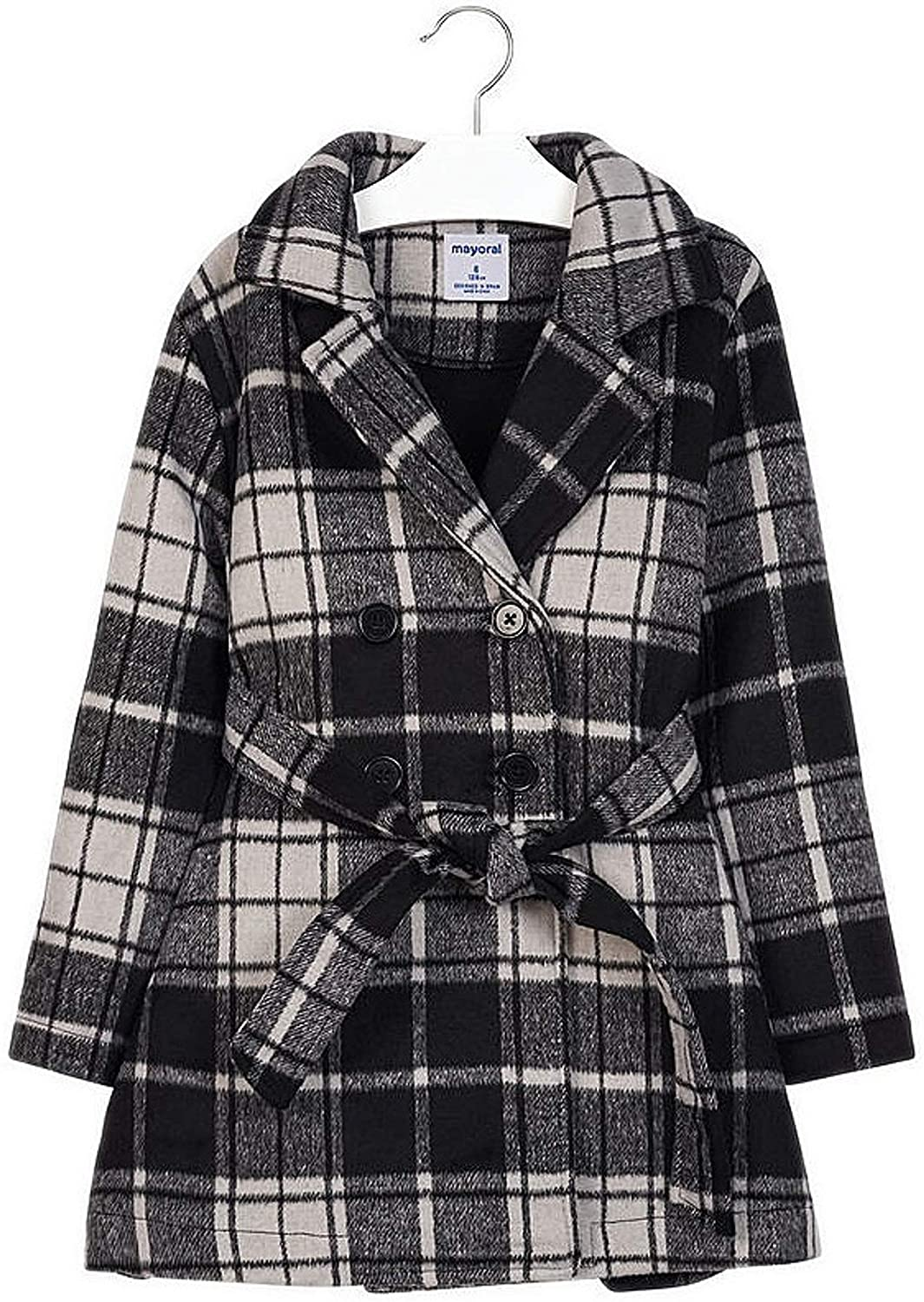 Mayoral - Checkered Coat for Girls - 7417, Black