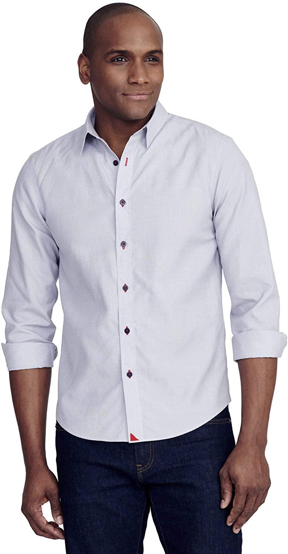 UNTUCKit Rubican - Untucked Shirt for Men Long Sleeve, Wrinkle-Free, Solid Grey