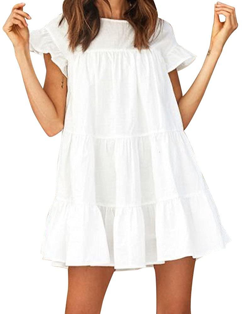 Sunmoot Women Casual Ruffled Dress Sexy Butterfly Short Sleeve Babydoll Dress Evening Party A-Line Mini Dress