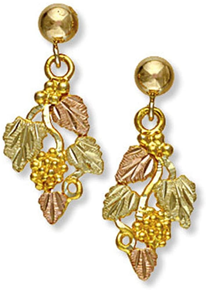 Landstroms 10k Black Hills Gold Earrings with Dangling Leaves and Grapes - G L01630