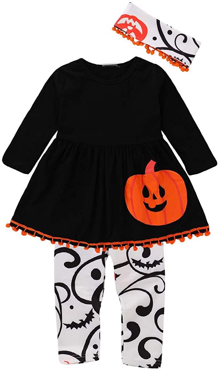 Toddler Kids Girls Halloween Outfits Skull Pumpkin Shirt Tops Pant Headband Set