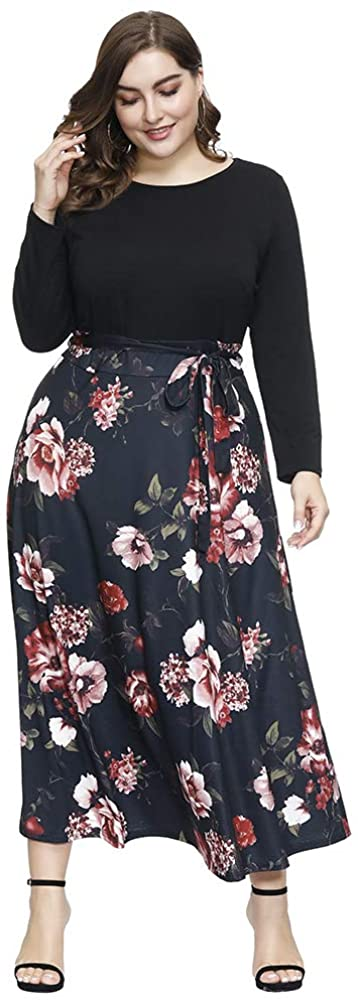 Love is Lovely Women's Plus Size Crew Neck Floral Vintage Patchwork Cocktail Casual Party Dress