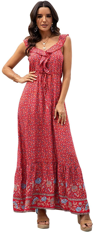 LANISEN Women's Summer Casual Sleeveless Boho Floral Flowy Swing Beach Long Party Maxi Sun Dress