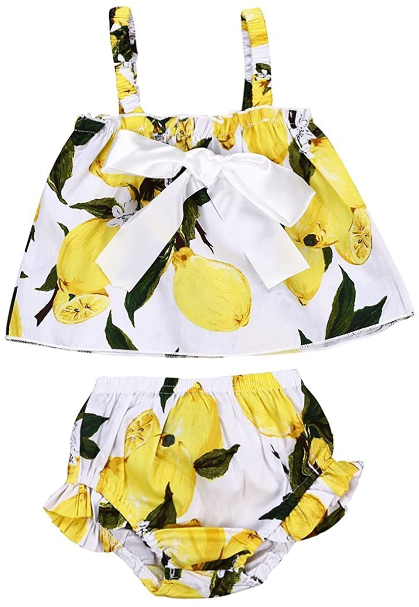 Infant Baby Girls Sleeveless Bowknot Lemon T-Shirt Tops+Shorts Pant Strap Outfit Sets
