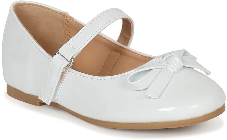 Alrisco Little/Big Girls Bow Tie Mary Jane Ballerina Flat SG43 - White Patent (Size: Toddler 10)