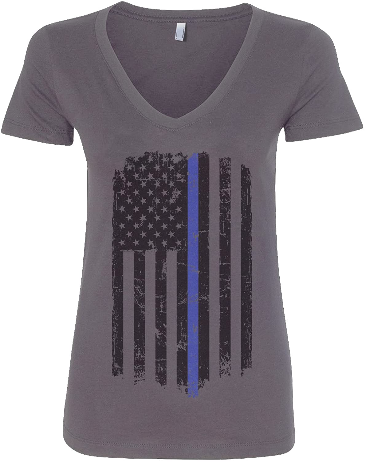 Threadrock Women's Thin Blue Line American Flag V-Neck T-Shirt