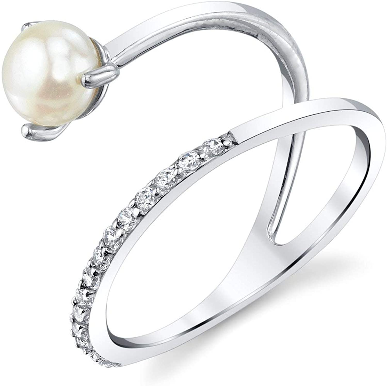 THE PEARL SOURCE 5-5.5mm Genuine White Freshwater Cultured Pearl & Cubic Zirconia Millie Ring for Women