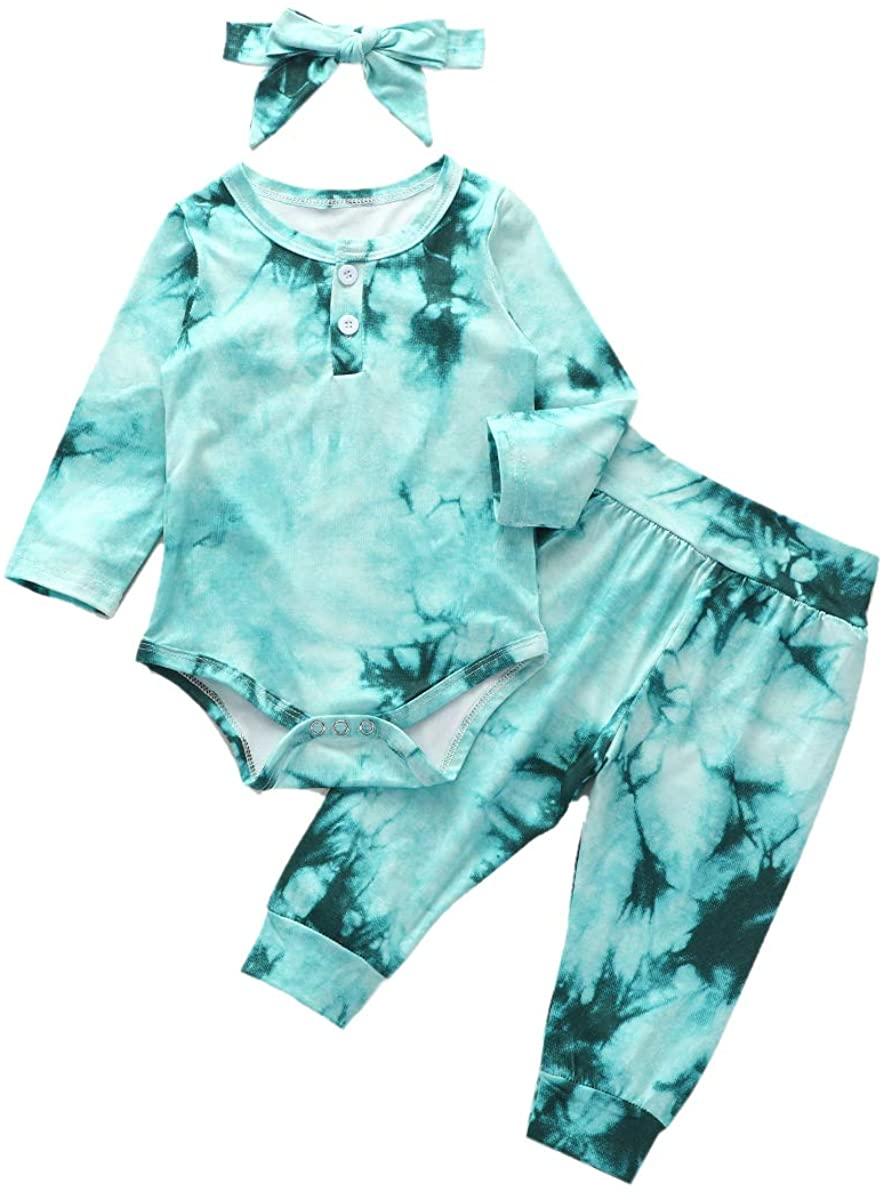 3PCS Newborn Unisex Baby Boy Girl Fall Clothes Tie-Dye Print Long Sleeve Romper Bodysuit Top+Leggings Long Pants+Headband